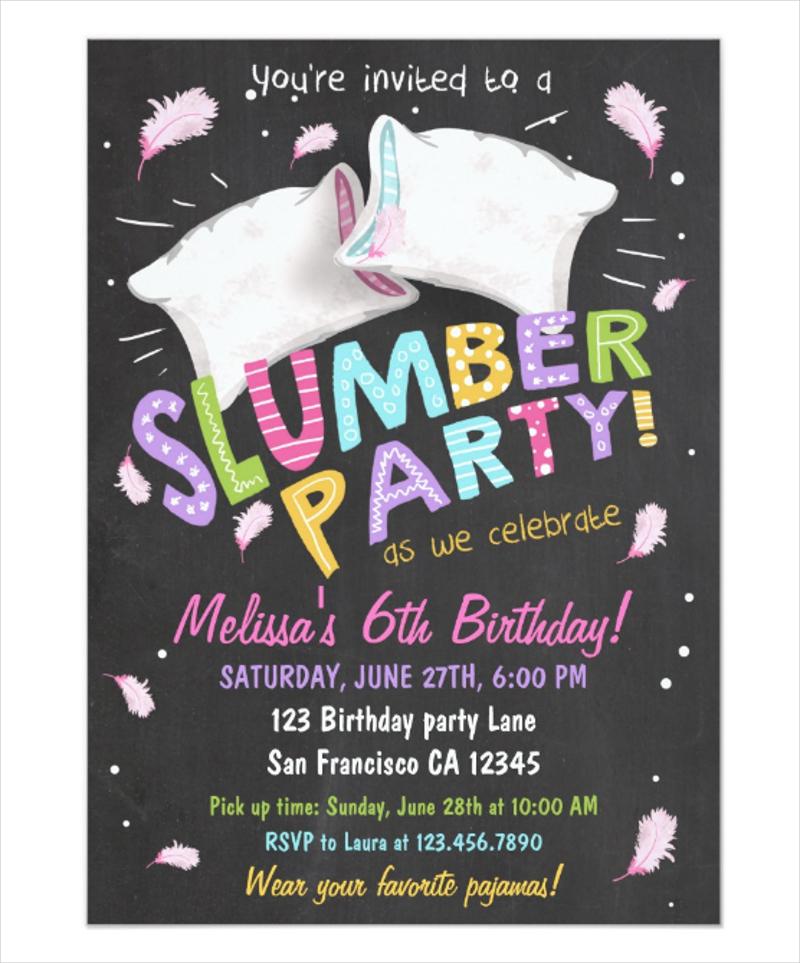 party pajamas sleepover invitation