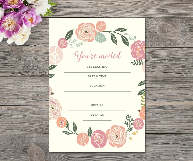 pastel flower blank invitation