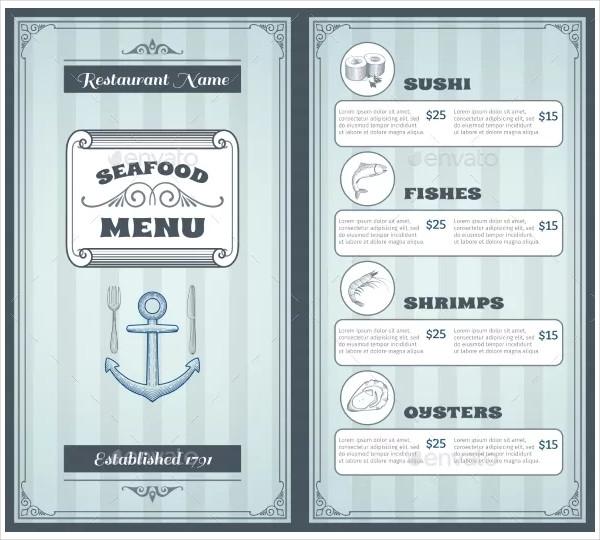 pastel seafood menu design