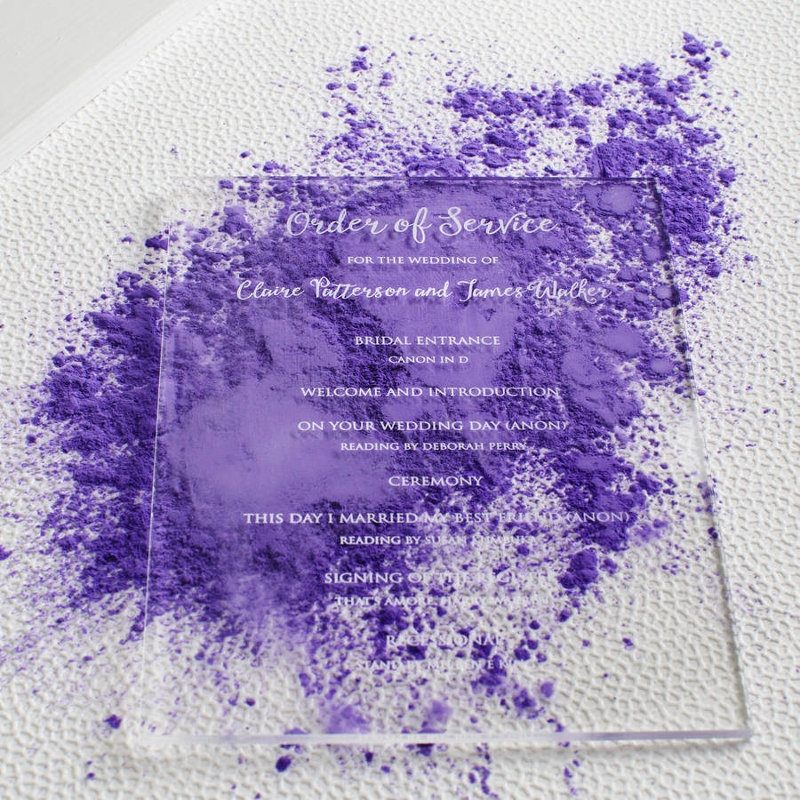 personalised acrylic wedding invitation design