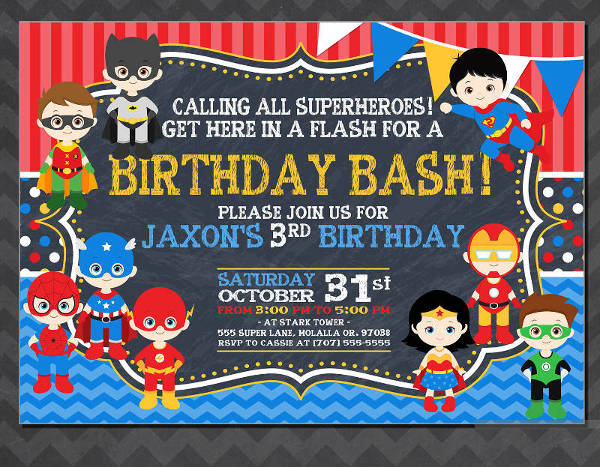 personalised superhero birthday invitation