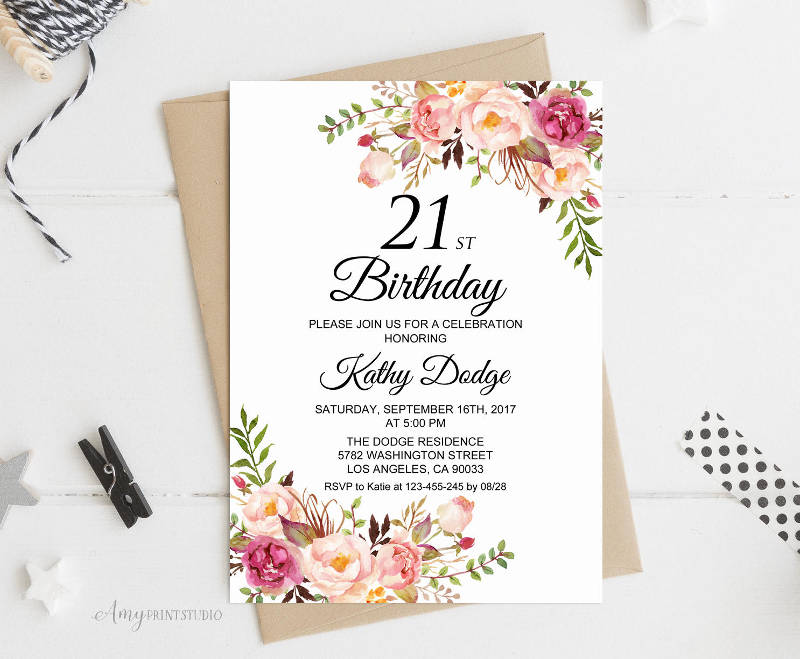personalized 21st birthday invitation