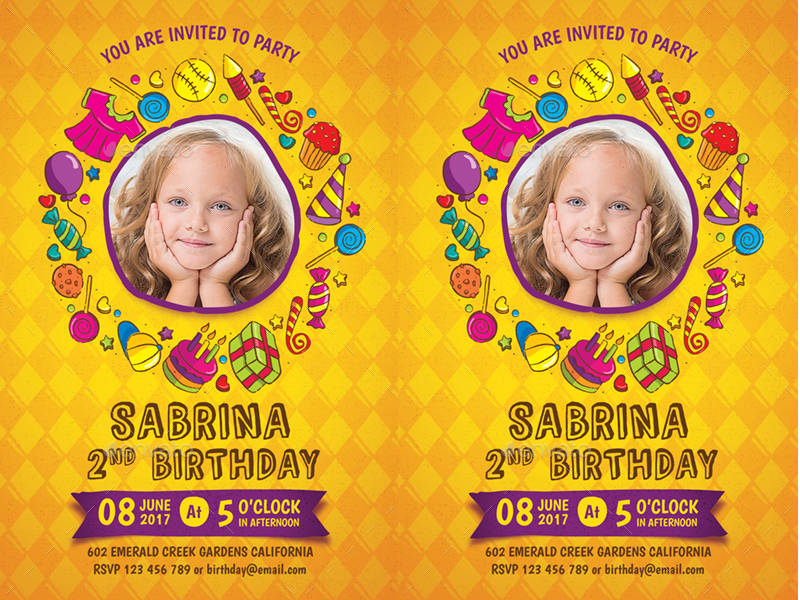 personalized birthday invitation in psd