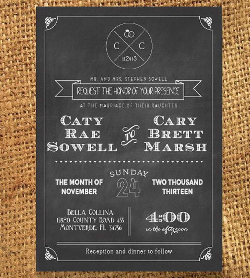 personalized chalkboard wedding invitation