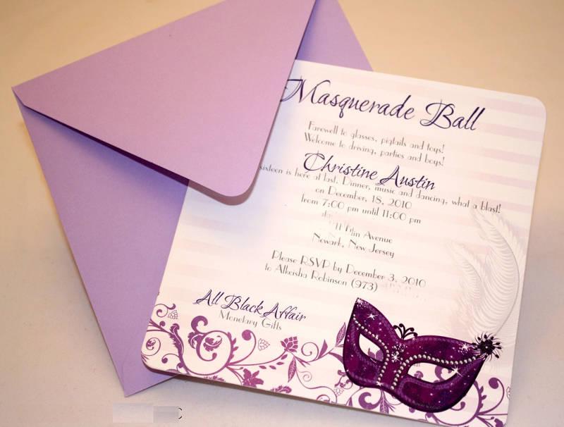 personalized masquerade birthday invitation