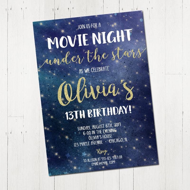 personalized movie night invitation