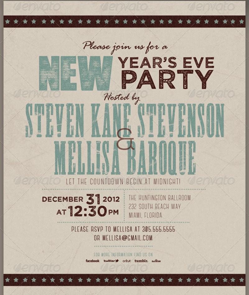 personalized retro new year party invitation