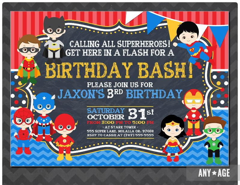 personalized superhero invitation