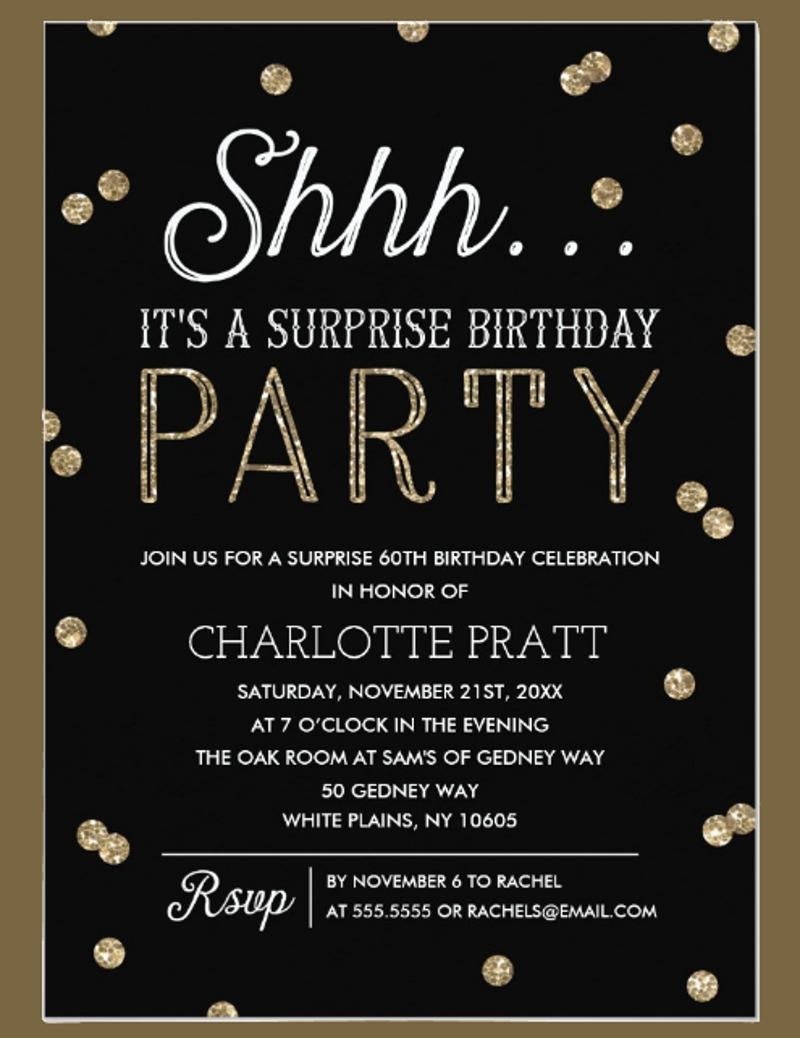 personalized surprise birthday party invitation