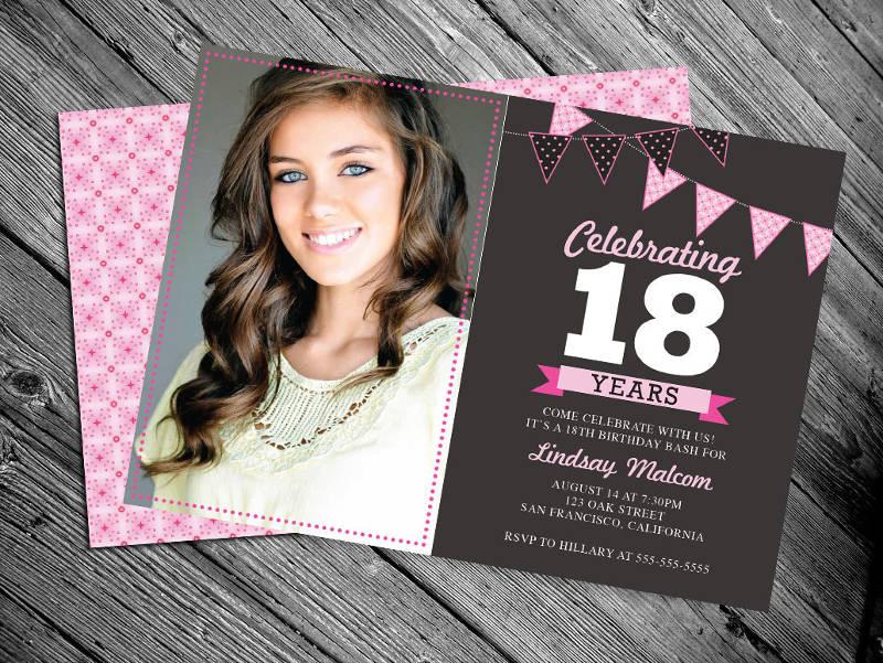 personlized 18th birthday invitation
