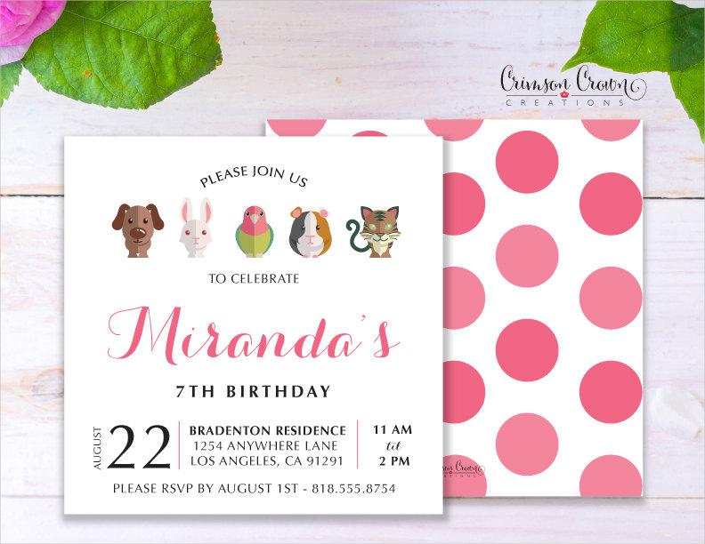 pets childs birthday invitation