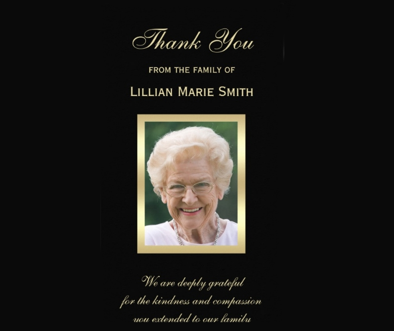photo memorial thank you card