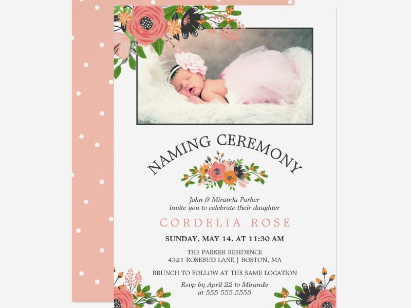 photo naming ceremony invitation card