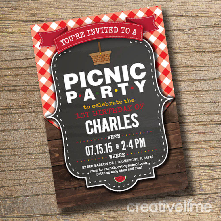 picnic birthday bbq party invitation