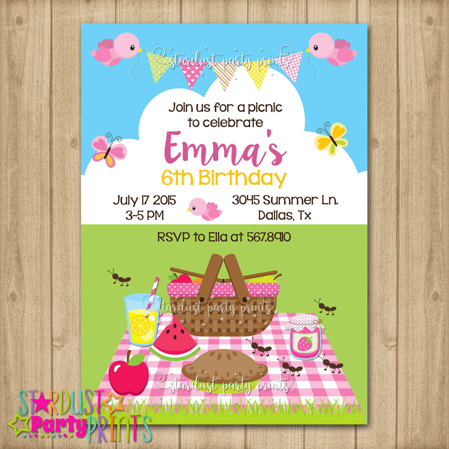 picnic birthday invitation design