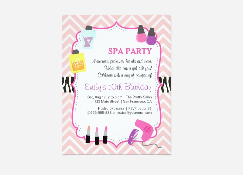 pink chevron spa party invitation