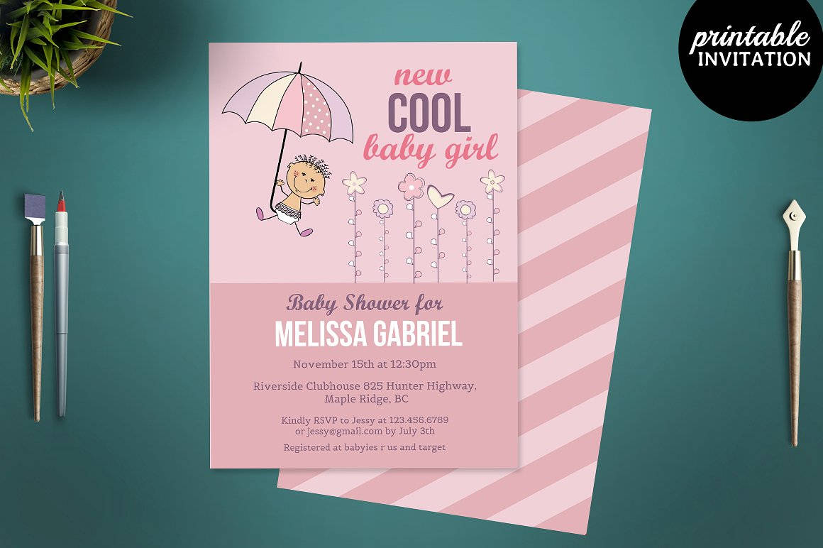 pink girl baby shower invitation template