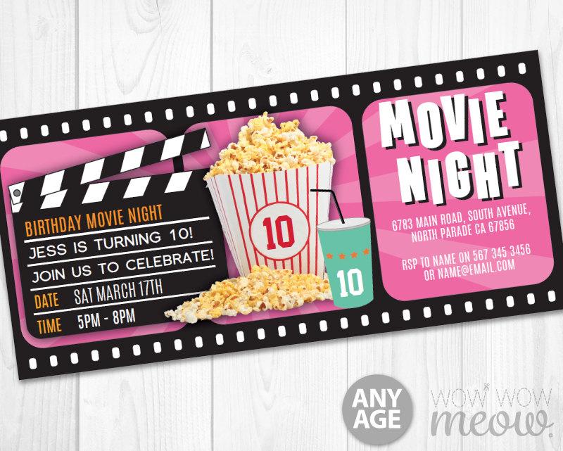 pink girls movie night ticket invitation