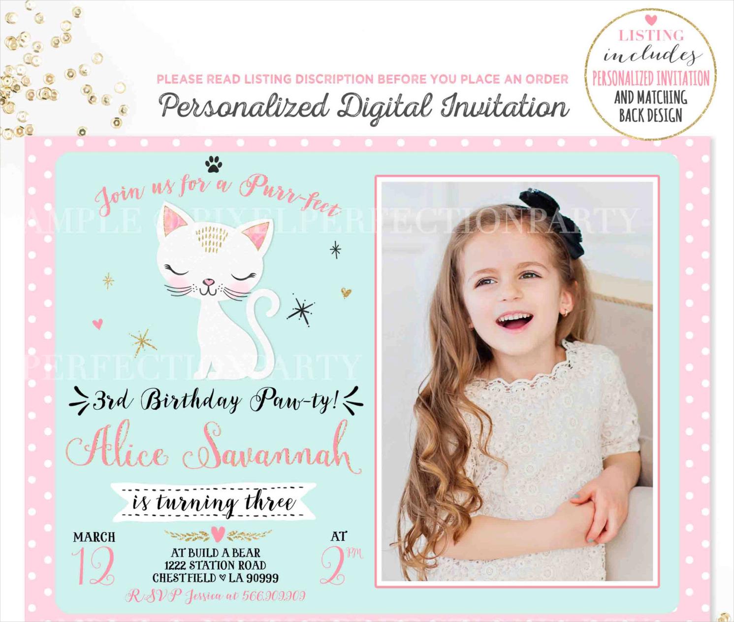 pink gold kitten birthday invitation