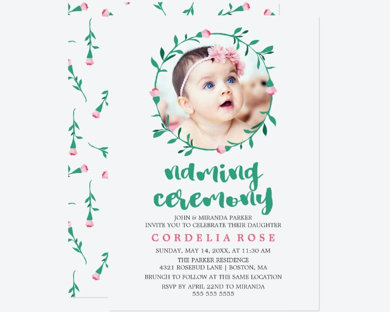 pink green naming ceremony invitation card1