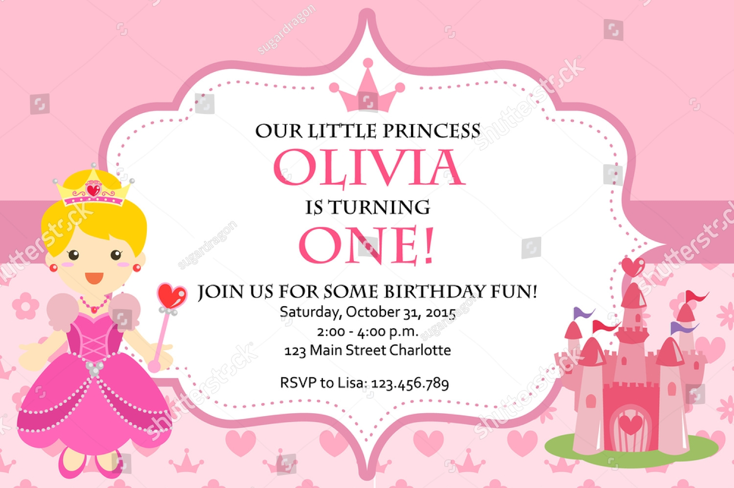 pink princess birthday party invitation