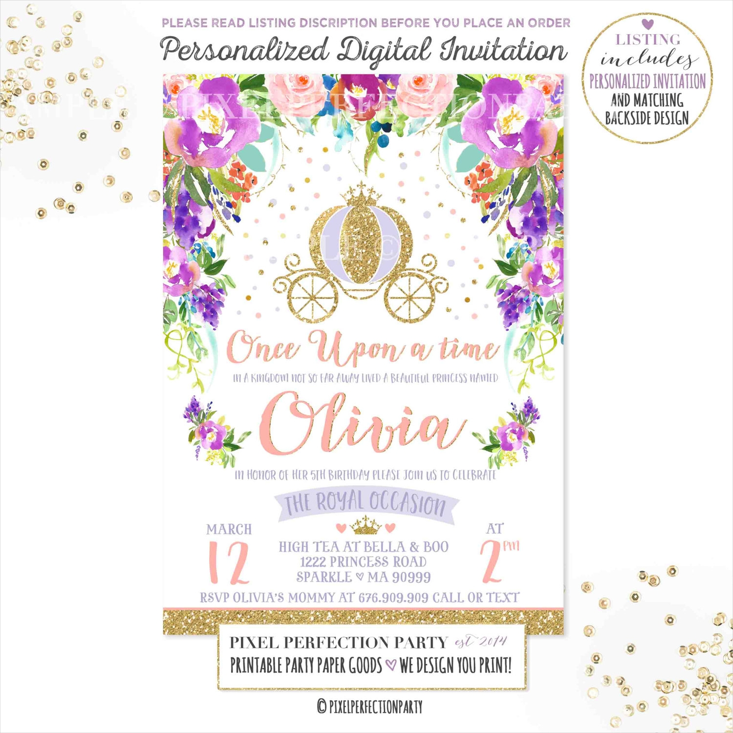 pink purple gold princess party invitation