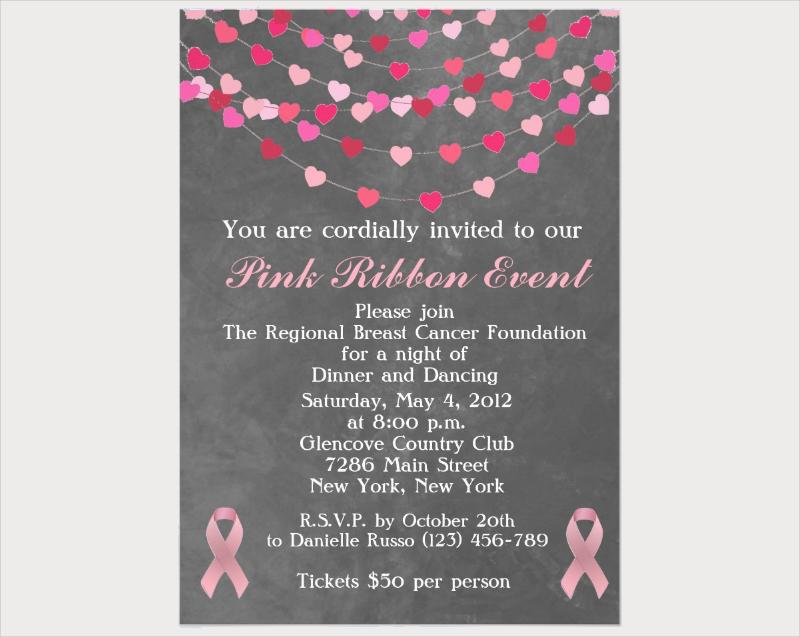 pink ribbon fundraiser invitation