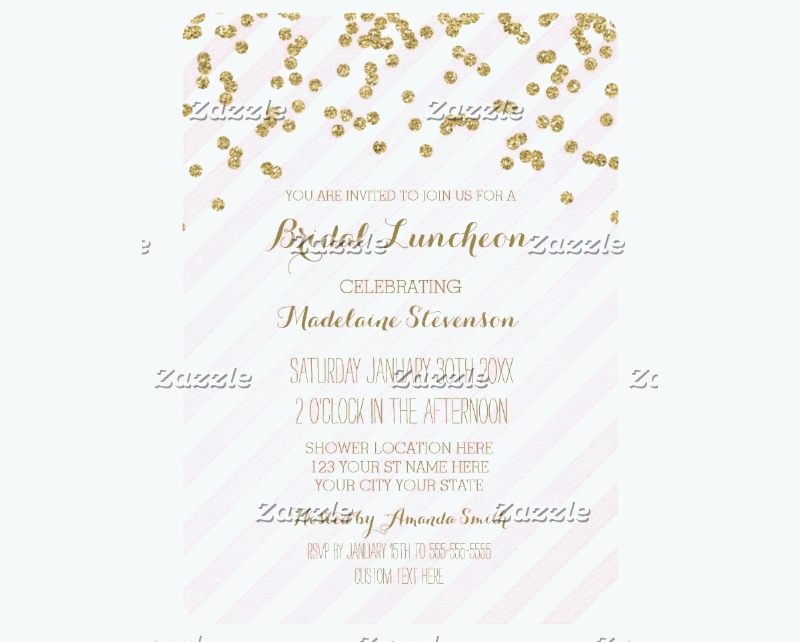 pink stripes gold bridal lunch invitation1