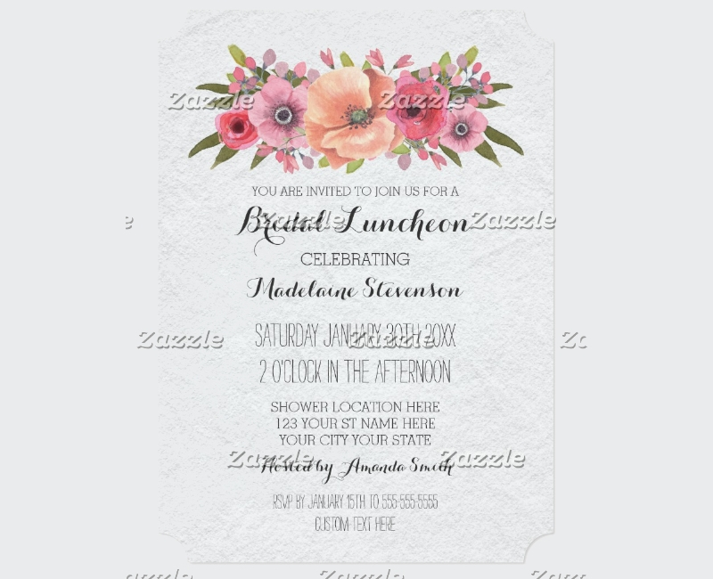 pink watercolor floral bridal lunch invitation1