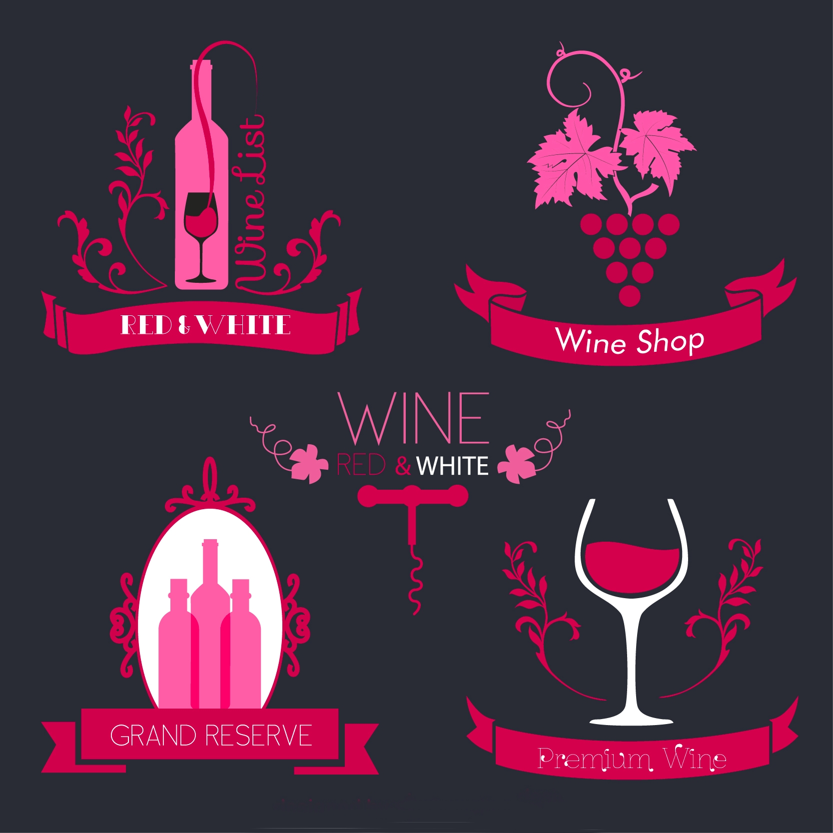Pink Wine Brand Labels