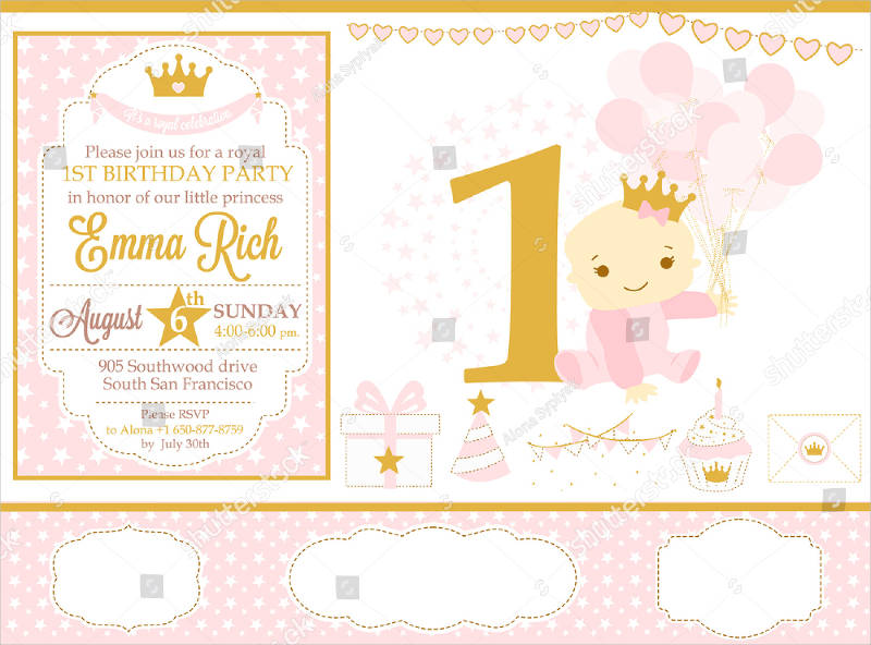 pink and gold baby princess birthday party invitation