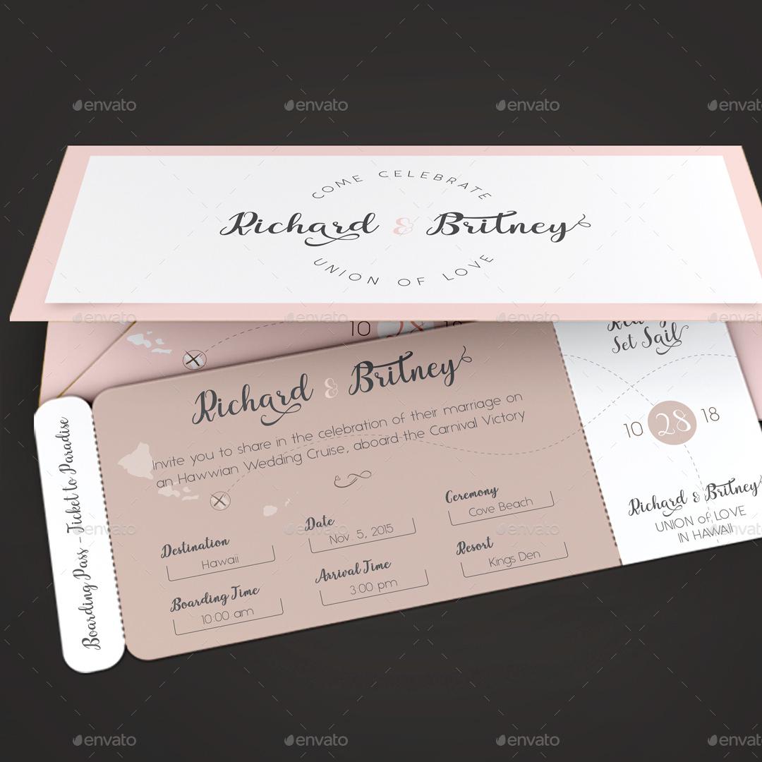 pinky wedding boarding pass invitation
