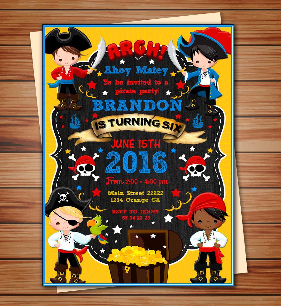 pirate boy party invitation