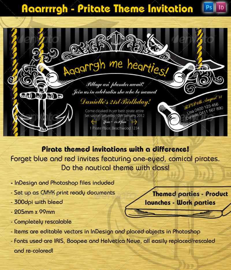 pirate event party invitation