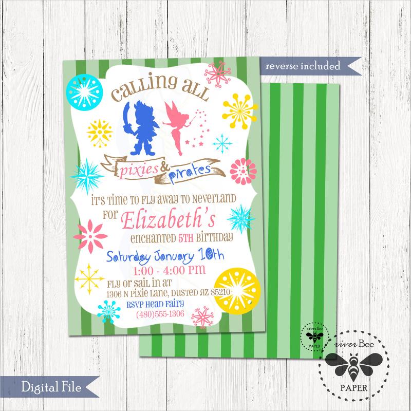 pixie pirate birthday invitation