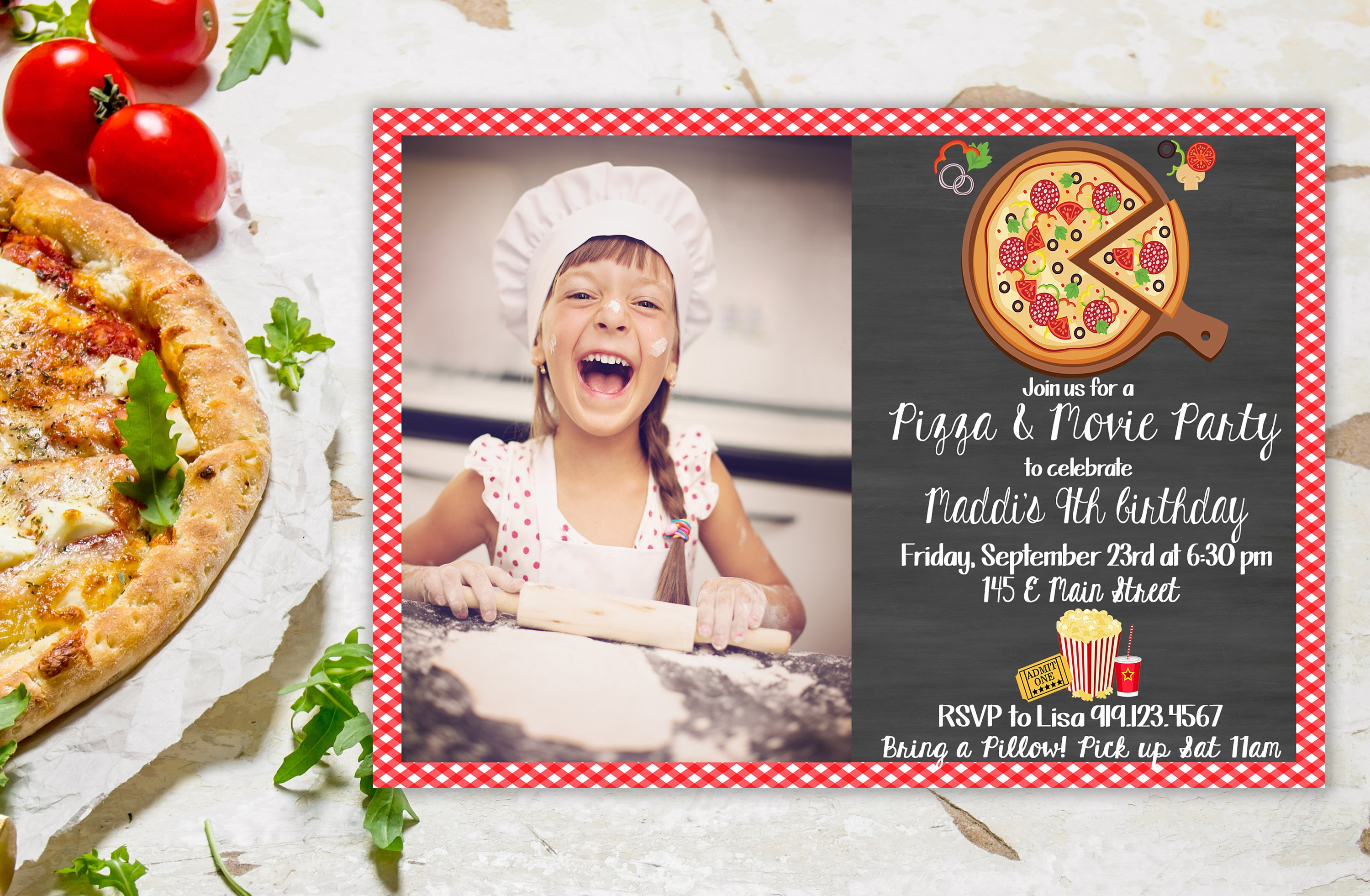 pizza and movie party invitation