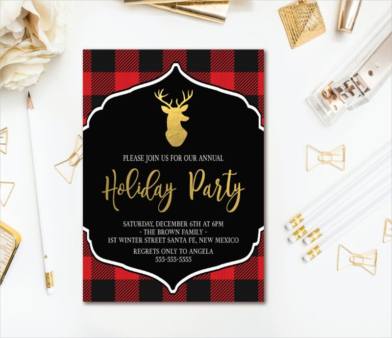 plaid holiday party invitation