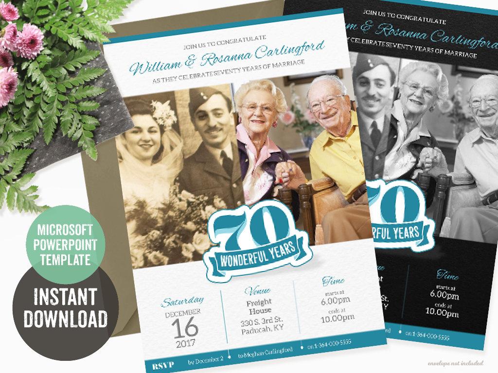 platnium anniversary party invitation