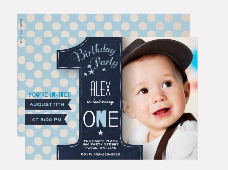 polka dot boy first birthday invitation