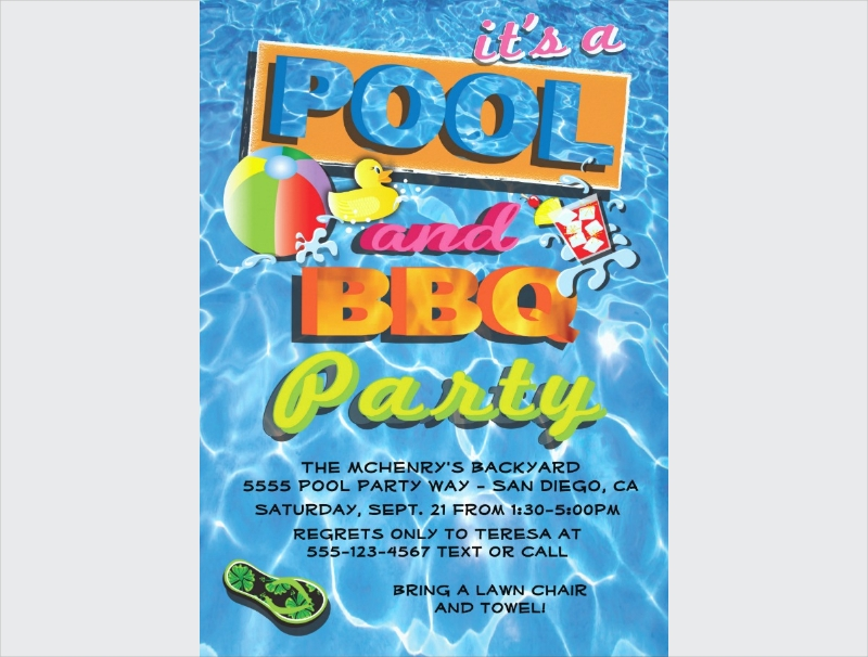 pool bbq party invitation