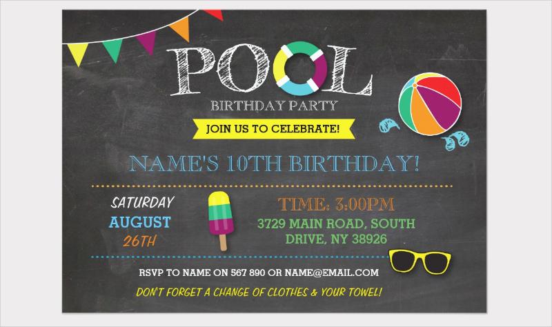 pool birthday party bbq invitation