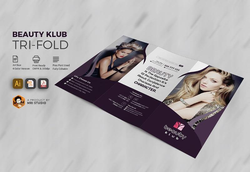 popular beauty salon tri fold brochure