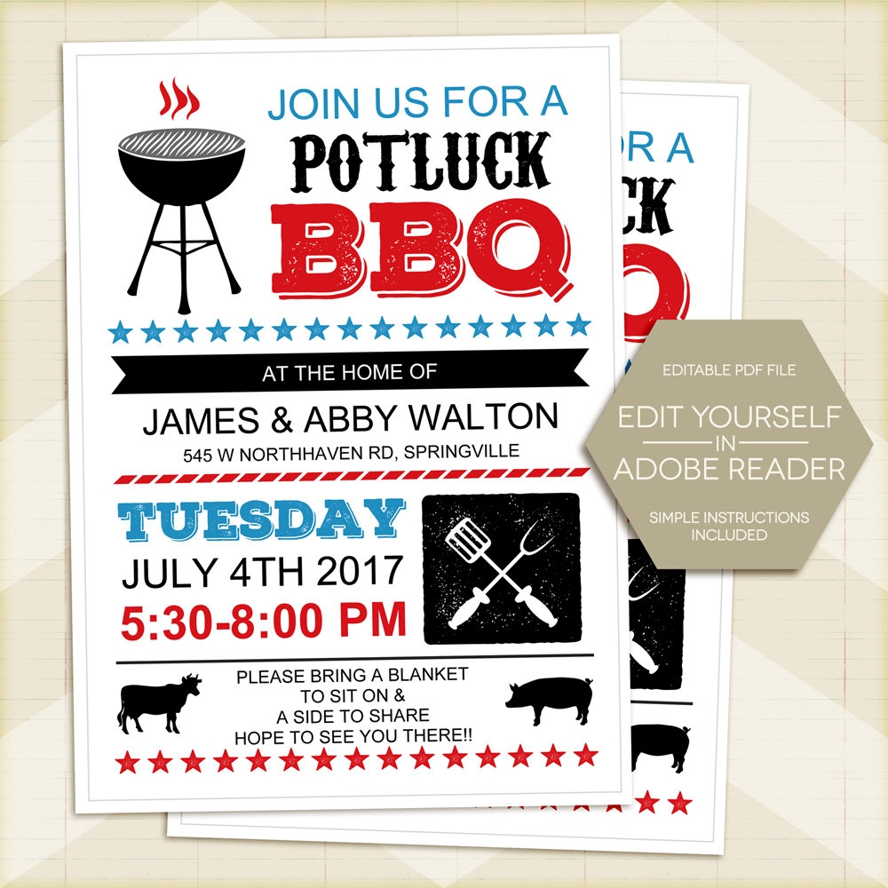 potluck barbecue invitation