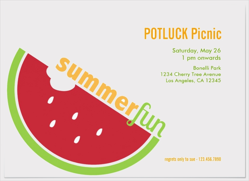 potluck summer picnic party invitation