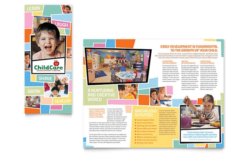 preschool kids child day care brochure template
