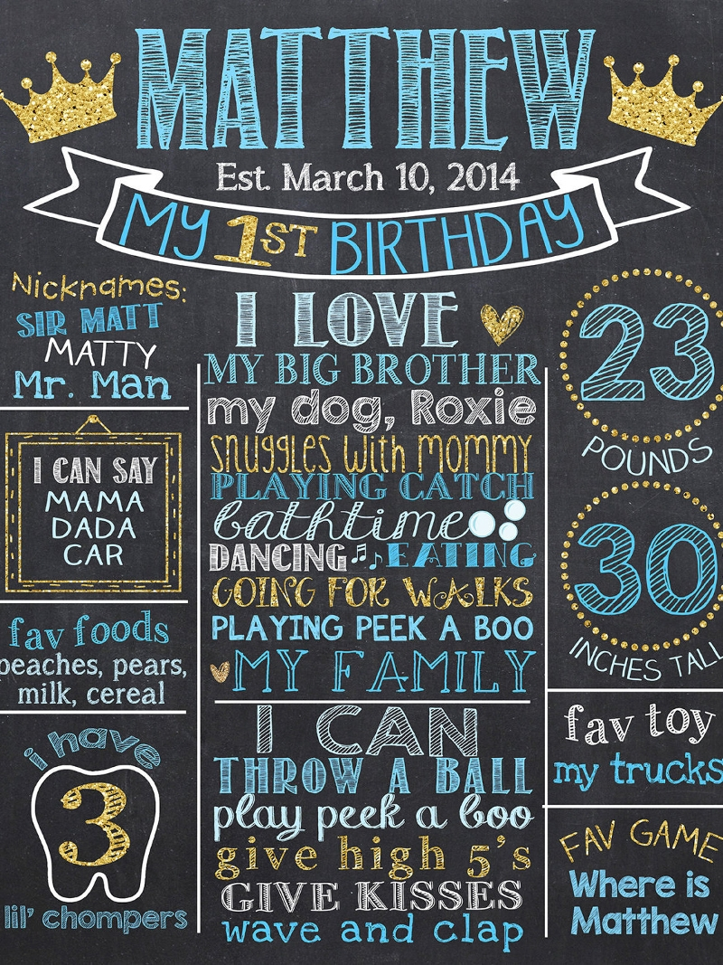 prince first birthday chalkboard invitation