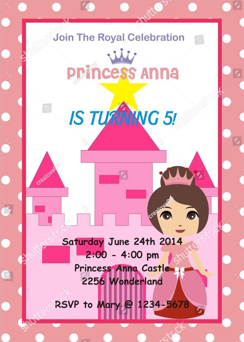 princess 5th birthday invitation