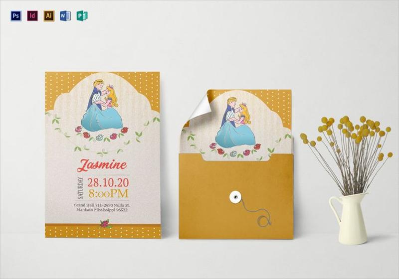 princess birthday invitation in psd