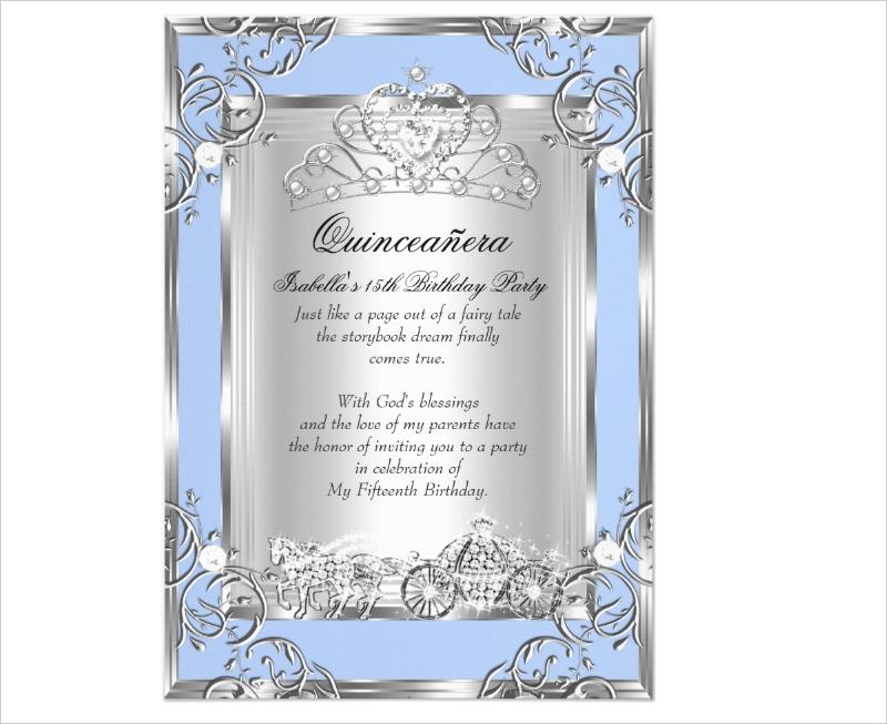 princess quinceanera birthday invitation