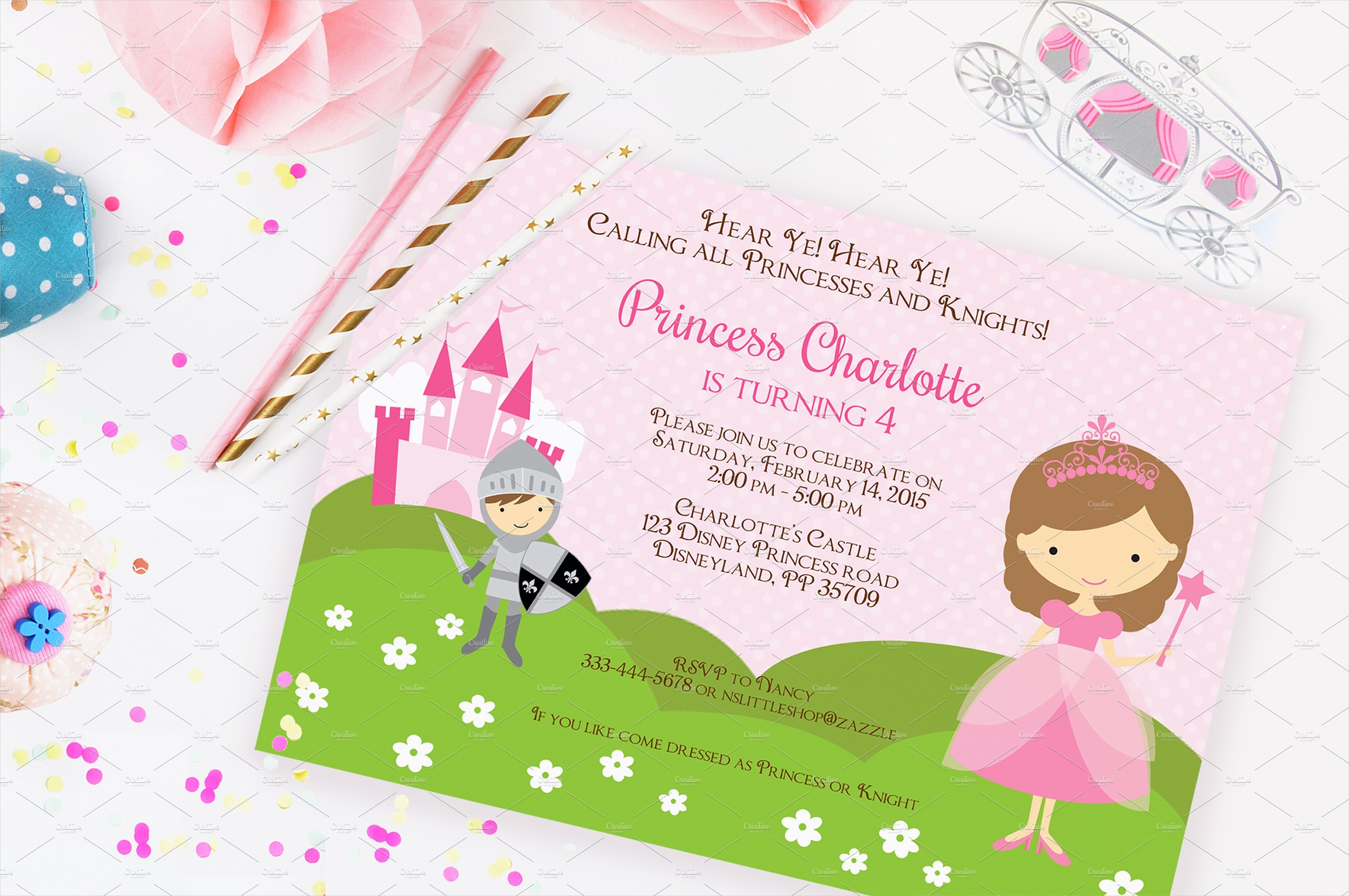 princess and knight party invitation